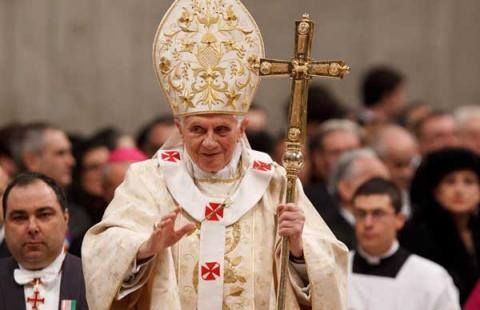 Pope Benedict XVI leaves Christmas Eve Mass at the Vatican Dec. 24. Photo via RN