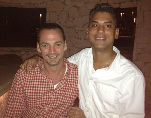 Nicholas Coppola (left) with his husband David Crespo at home. Photo via RNS/Nic