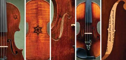 Details of the violins. RNS photo by Ziv Shenhav