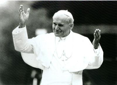 Pope John Paul II gestures in a still from the PBS frontline show.