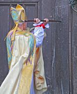 New Bishop of Durham knocking on door at Saturday's ceremony. Image from durham.