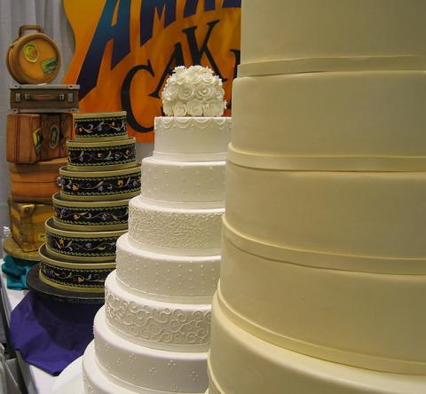 "Wedding cakes at a bridal ""expo"" in Seattle."