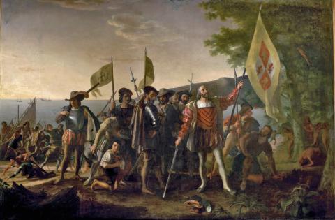 Image: Landing of Columbus on the Islands of Guanahani, West Indies, 1847. John Vanderlyn (1775-1852)
