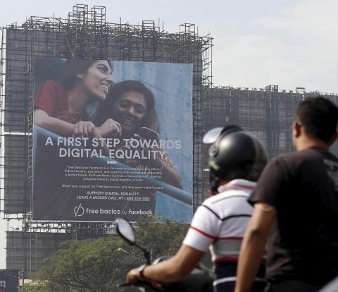 A billboard in Mumbai, India, promotes Facebook's Free Basics initiative.