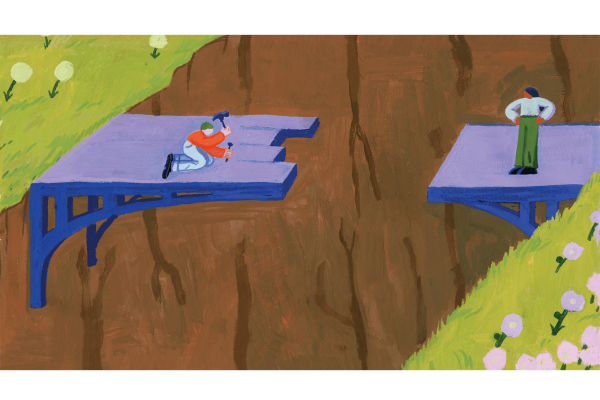 Illustration of two people building a bridge from both sides of a canyon.