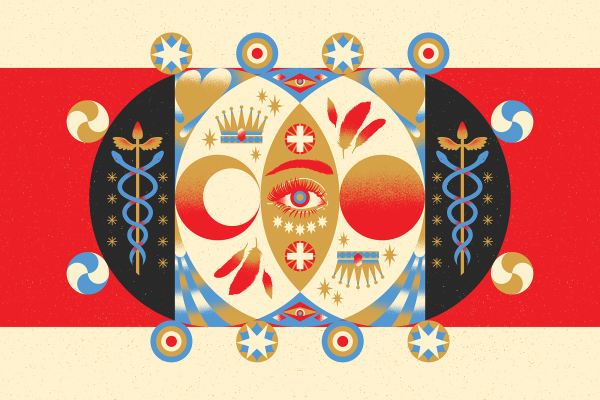 Graphic of an eye with symbols surrounding it, a crown, feathers, etc.