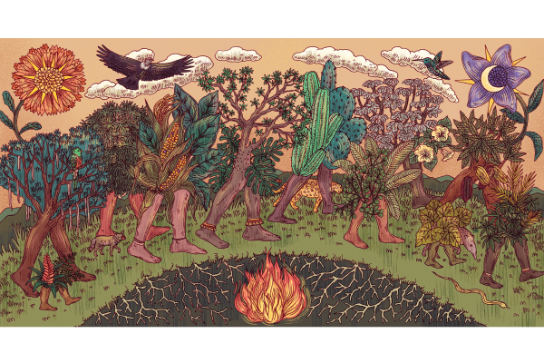 A surrealistic illustration of plants with human legs, dancing in a circle around a fire, birds and flowers above them.