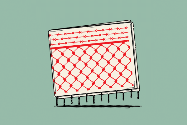 Illustration of a chained link fence and barbed wire.
