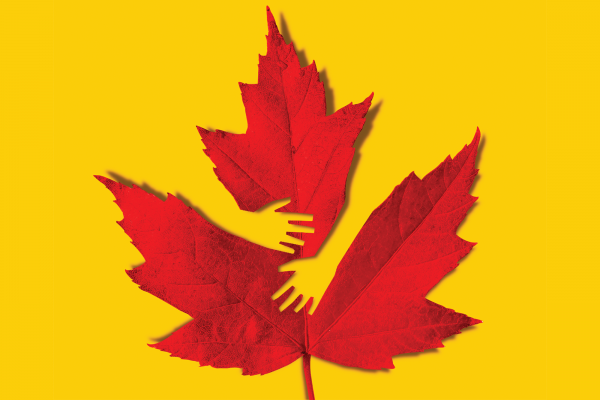 Illustration of an autumnal leaf overlaid by yellow hands