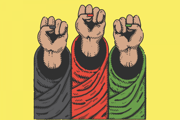 Illustration of three raised fists emerging from shirt sleeves in the colors of the flag of Afghanistan