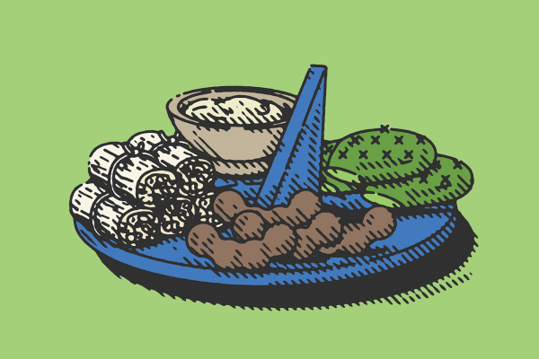 An illustration of a plate filled with tamarind pods, cacti, and tamales