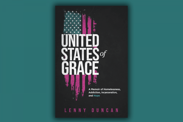 """The cover of """"United States of Grace"""" has an American flag that looks like it is emerging from shadows and is rough around the edges."""