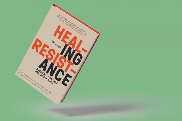 "The cover of ""Healing Resistance"" features the words ""healing resistance in bright orange and black lettering."