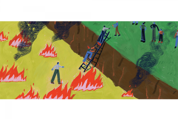 An illustration of people climbing up a ladder, out of a ditch that is on fire. At the top of the ladder is green grass and a person helping them up.