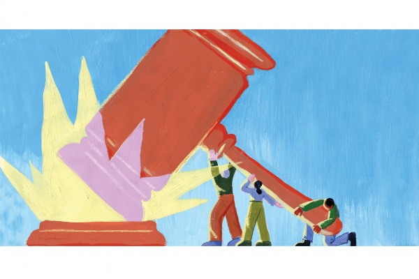 An illustration of three people holding up a giant gavel that is making a noise.
