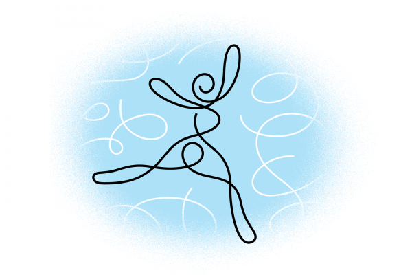 An abstract figure of a human dancing.