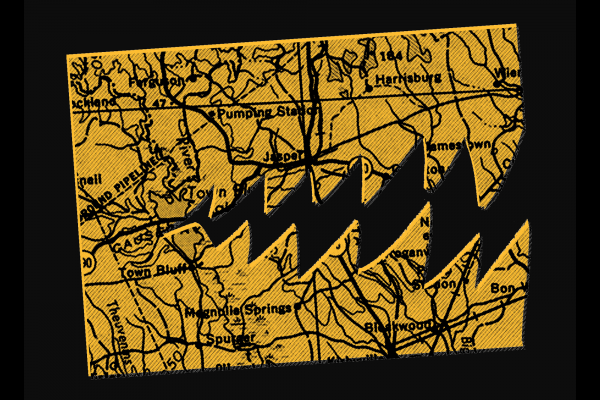 A map is cut out to look like a pac man with chomping, sharp teeth.
