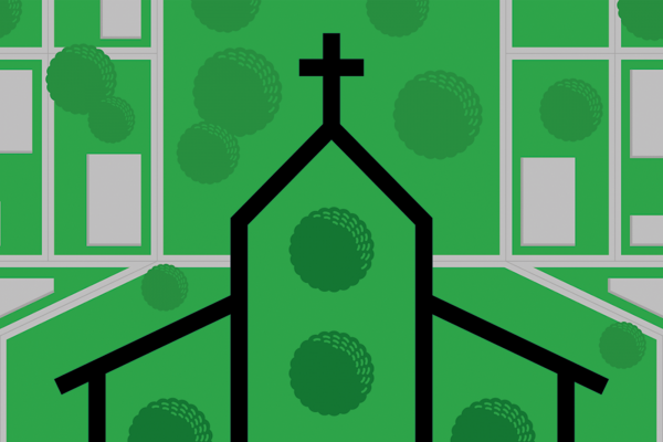 A graphic of an outline of a church building and an aerial view of sidewalks and neighborhood streets.