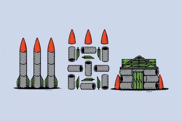 Illustration of nuclear weapons being deconstructed and rebuilt into a house.