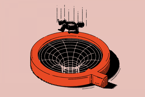 Illustration of a person falling into a trap that is shaped like the letter Q to represent Q-Anon.