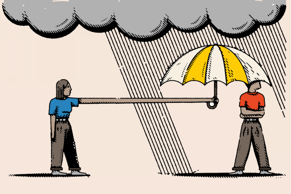 Illustration of a person in a red shirt standing under a raincloud and rainstorm. Another person is holding an umbrella over them with an exaggeratedly extended arm.