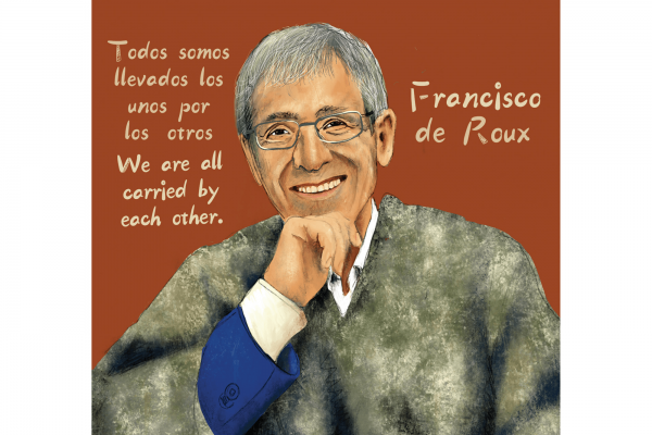 Jesuit priest, peace activist, and president of the Columbian Truth Commission Francisco de Roux / Illustration by Johnalynn Holland