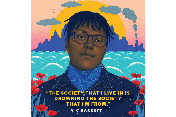 An illustrated portrait of Vic Barrett, a young Honduran climate activist. In the background are mountain silhouettes at sunset and ocean water.