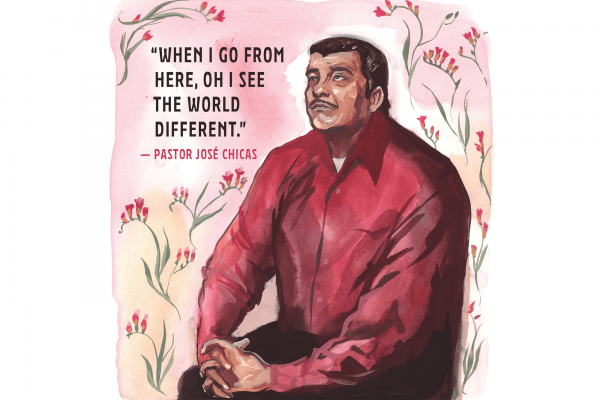 Pastor José Chicas spent 1,300 days in sanctuary in Durham, N.C. He returned home in January. / Illustration by Jenny Kroik
