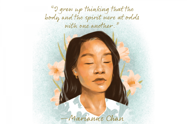 An illustration of poet Marianne Chan with her eyes closed and flowers behind her head