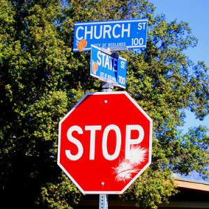 """Stop the Intersection of Church and State."" Image via http://bit.ly/yAHnfE"