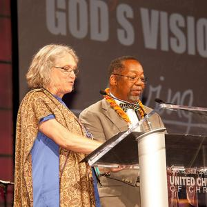 The Rev. Sharon Watkins and the Rev. Geoffrey Black offer a Litany of Response.
