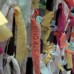 Memorial at the finish line of the Boston Marathon after the bombing, RobinJP /