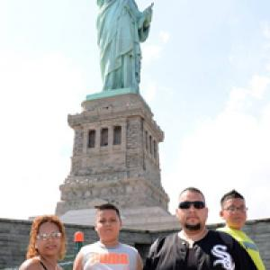 Felipe's family at the Statue of Liberty. Courtesy Felipe Diosdado