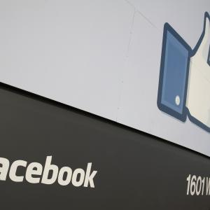 Sign at the entrance of Facebook HQ, Menlo Park, CA. Photo via Getty Images.