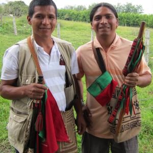Activists Manuel and German, members of the Indigenous Guard formed by the Nasa