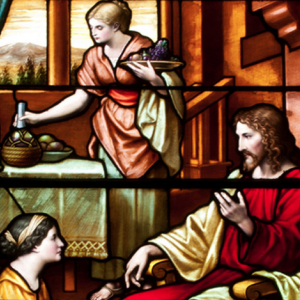 Stained glass of Jesus, Mary, and Martha. Photo courtesy Odyssey Networks.