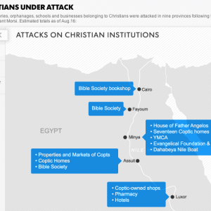 """Screenshot from USA Today's Interactive Map, """"Egypt's Christians Under Attack."""""""