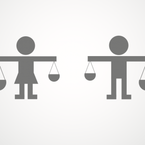 A woman and a man carry scales of justice. Image courtesy TackTack/shutterstock.