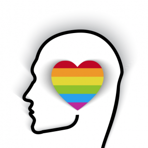 Head contour with rainbow flag in the shape of a heart. Image courtesy bymandesi