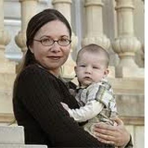 Dr. Hayhoe, with one of her inspirations to fight climate change.
