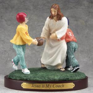 """Jesus is My Coach"" figurine via www.standrewschurchsupply.com"