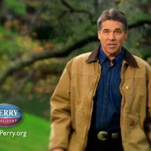 "Still from Rick Perry's ad ""Strong."""