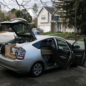 The Piatt Prius, overloaded. Photo by Christian Piatt.