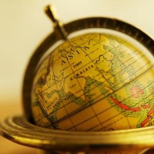 Closeup of a globe. Nejron Photo / Shutterstock