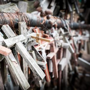 Crosses gathered for mourning. Photo courtesy Konstantin Yolshin/shutterstock.co