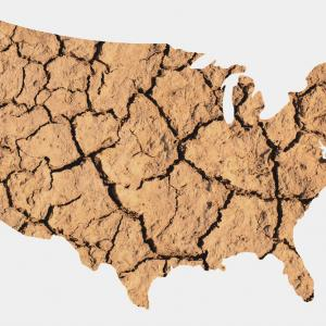 Cracked earth in the shape of the United States. Image courtesy Steve Cukrov/shu