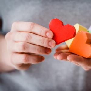 Hearts together making a rainbow. Image courtesy Yulia Grigoryeva/shutterstock.c
