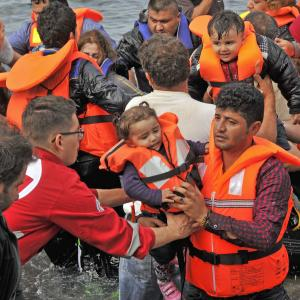 Syrian refugees arrive in Lesvos, Greece in October.