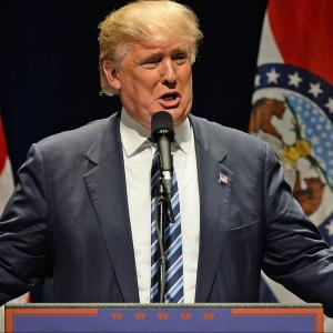 Donald Trump addresses supporters at the Peabody Opera House in Downtown St. Louis in March
