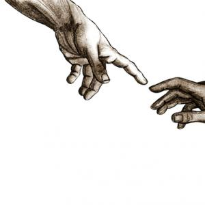 Sketch of God and Adam's hands, aleisha / Shutterstock.com